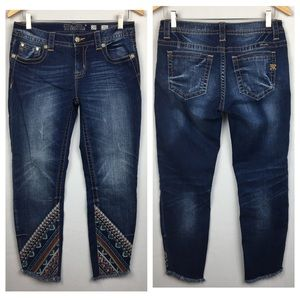 MISS ME Raw Hem Embroidered Ankle Skinny Jeans
